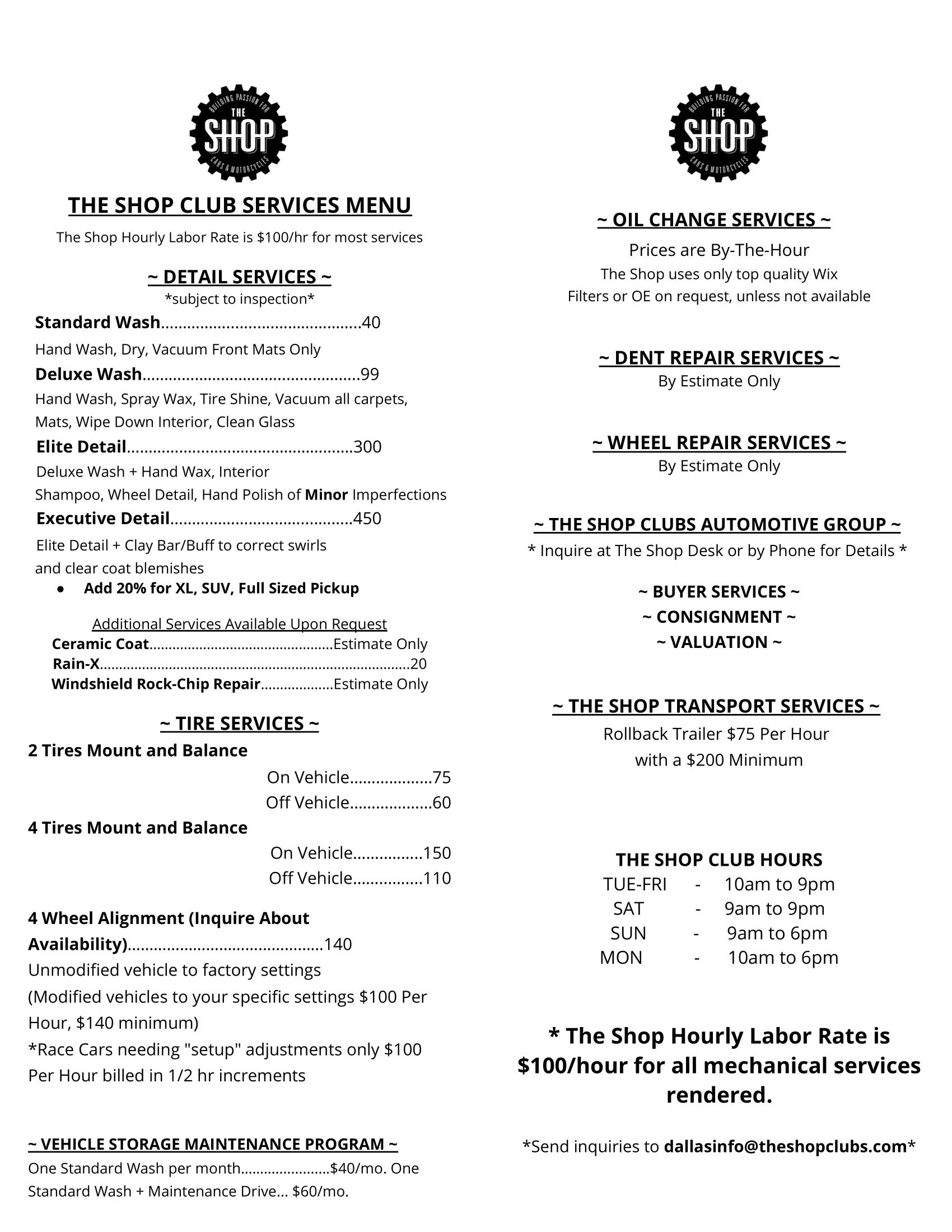 THE SHOP CLUB DALLAS SERVICES MENU BROCHURE-1